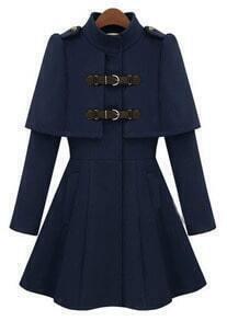 Navy High Neck Long Sleeve Buckle Strap Cloak Coat