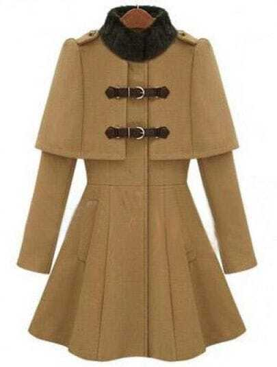 Camel High Neck Long Sleeve Buckle Strap Cloak Coat