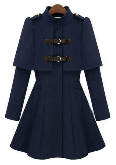 Navy High Neck Long Sleeve Buckle Strap Cloak Coat