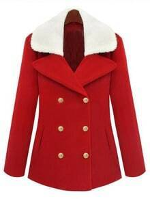 Red Detachable Lambswool lapel Buckle Back Wool Coat