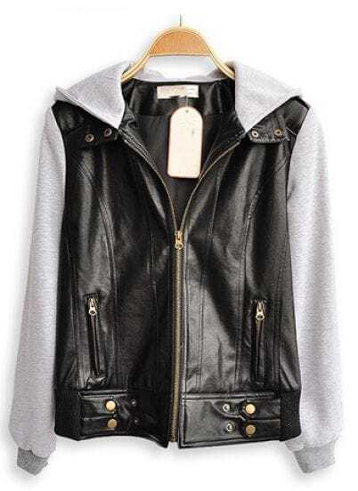 Black Hooded Long Sleeve Zipper Pockets Leather Coat