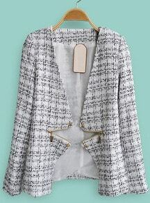 White V Neck Long Sleeve Zipper Plaid Coat