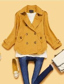 Yellow Lapel Batwing Long Sleeve Epaulet Trench Coat