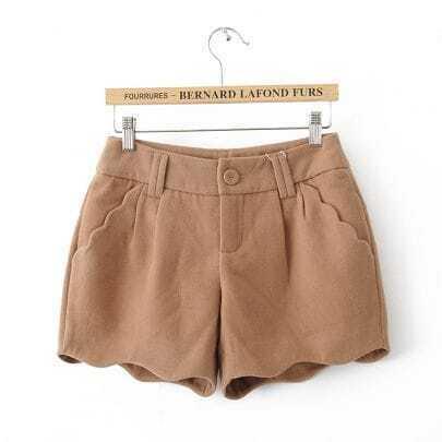 Khaki Low Waist Ruffles Loose Shorts