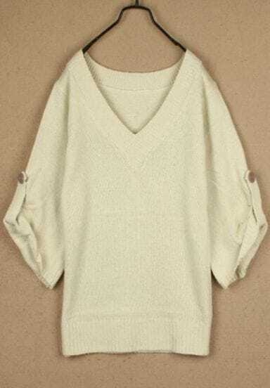 Apricot V Neck Batwing Long Sleeve Buttons Sweater