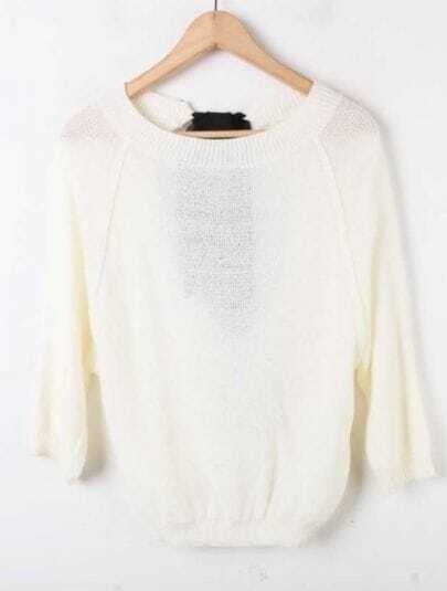Beige Half Sleeve Hollow Batwing Pullovers Sweater
