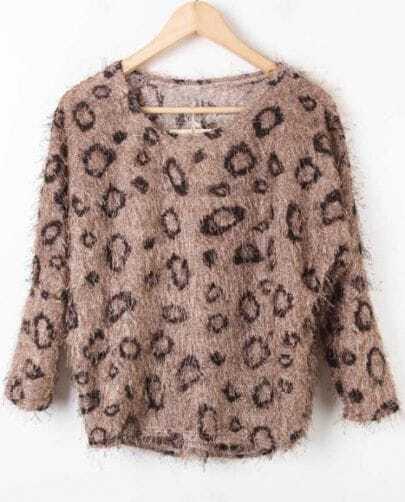 Khaki Batwing Long Sleeve Polka Dot Pullovers Sweater