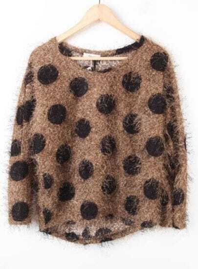 Coffee Batwing Long Sleeve Polka Dot Pullovers Sweater