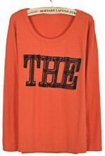 Orange Round Neck Long Sleeve THE Print T-Shirt