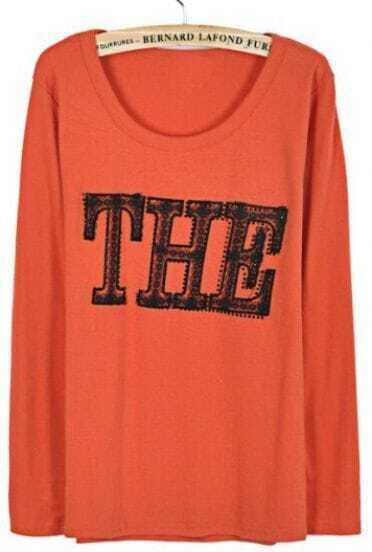 Orange Round Neck Long Sleeve THE Print T-Shirt