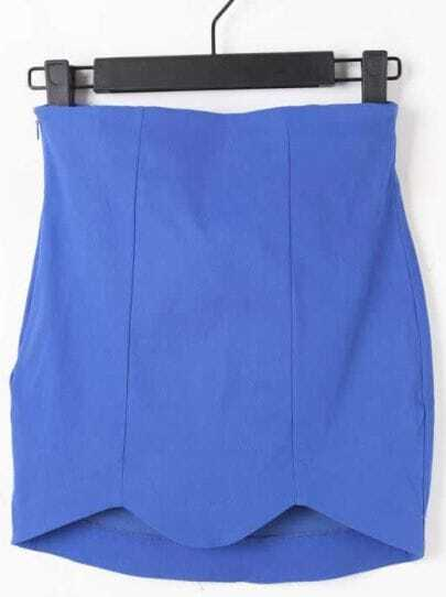 Blue High Waist Elasic Zigzag Bodycon Skirt