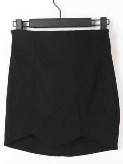 Black High Waist Elasic Zigzag Bodycon Skirt