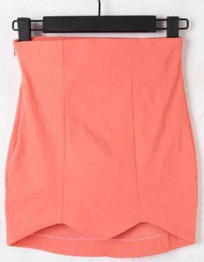 Pink High Waist Elasic Zigzag Bodycon Skirt
