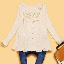 Beige Long Sleeve Bow Ruffles Loose Chiffon Shirt