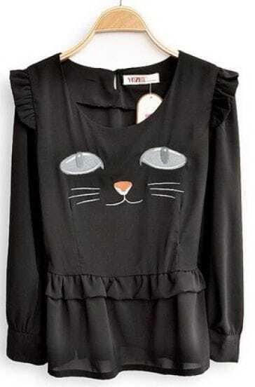 Black Long Sleeve Cat Face Print Ruffles Chiffon Shirt