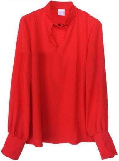Red Long Puff Sleeve Hollow Chiffon Shirt