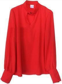 Red Long Puff Sleeve Hollow Chiffon Shirt