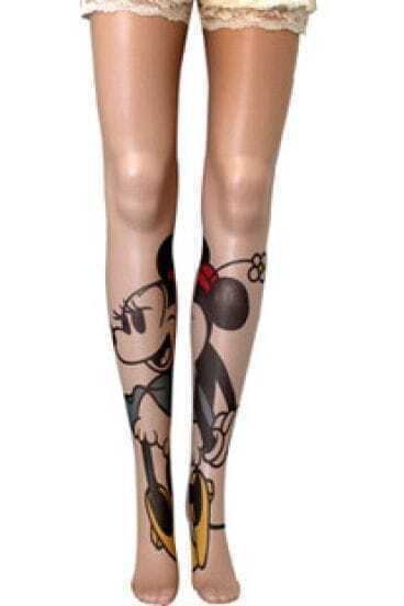 Nude Sheer Tights with Mickey Mouse Deatil