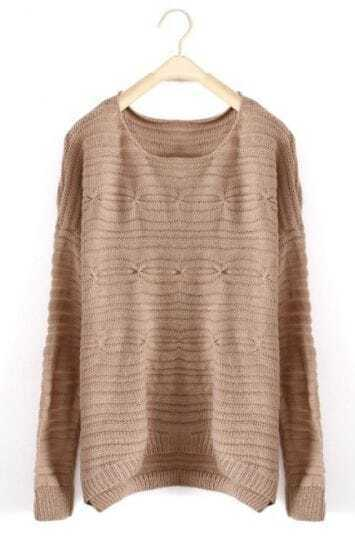 Khaki Round Neck Long Sleeve Loose Pullovers Sweater