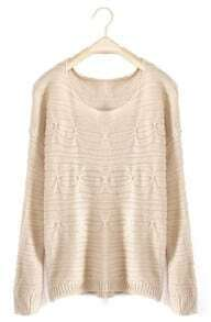 Beige Round Neck Long Sleeve Loose Pullovers Sweater