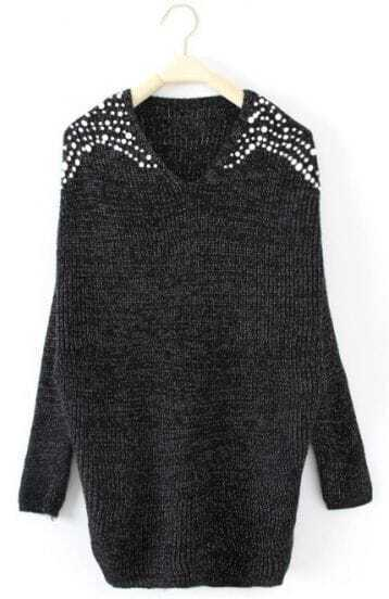 Black Batwing Long Sleeve Pearls Pullovers Sweater