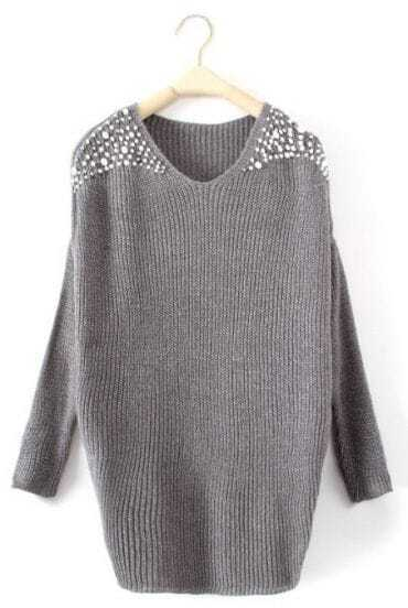 Grey Batwing Long Sleeve Pearls Pullovers Sweater