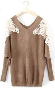 Coffee Long Sleeve Hollow Embroidery Pullovers Sweater