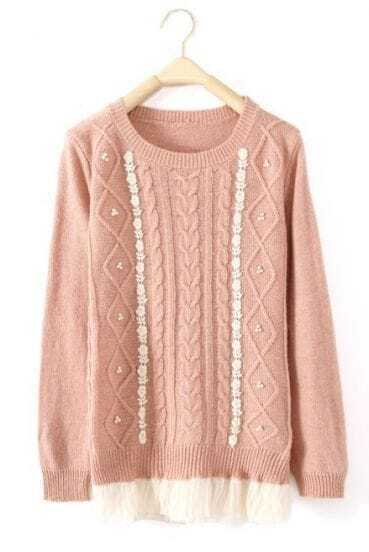 Pink Long Sleeve Contrast Mesh Yoke Embroidery Sweater