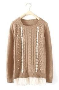 Khaki Long Sleeve Contrast Mesh Yoke Embroidery Sweater