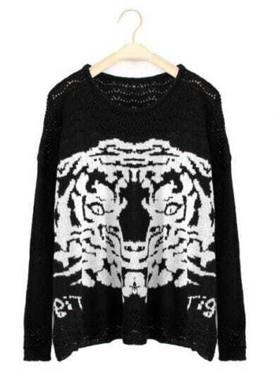 Black Long Sleeve Tiger Print Loose Pullovers Sweater