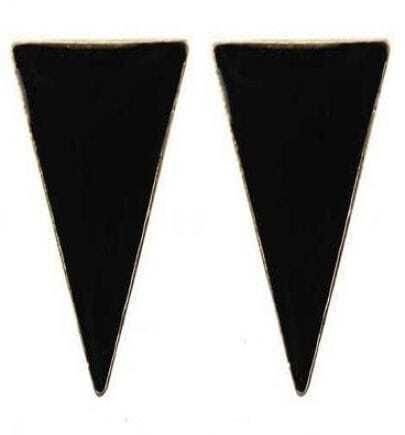 Black Triangle Stud Earrings