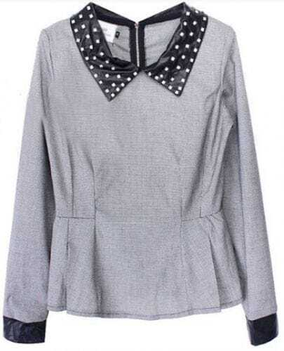 Grey Contrast Collar Rhinestone Houndstooth Blouse