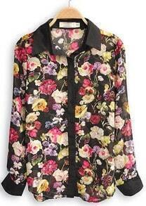 Black Lapel Long Sleeve Floral Buttons Chiffon Shirt