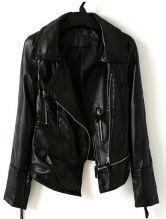 Black Long Sleeve Zipper Pocket PU Leather Coat