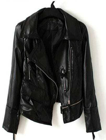 Black Long Sleeve Zipper Pocket PU Leather Coat