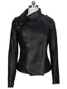 Black Long Sleeve Zipper PU Leather Coat