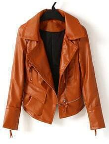 Brown Long Sleeve Zipper Pocket PU Leather Coat