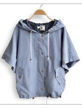Blue Hooded Polka Dot Drawstring Batwing Cape Coat
