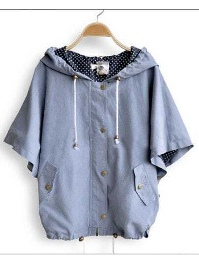 Blue Hooded Polka Dot Drawstring Batwing Cape Coat