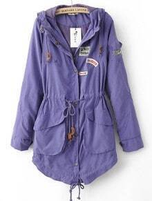 Purple Hooded Drawstring Waist Pockets Trench Coat