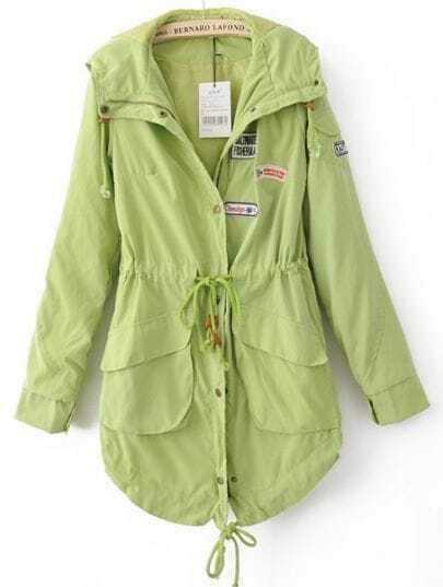 Green Hooded Drawstring Waist Pockets Trench Coat