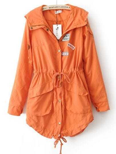 Orange Hooded Drawstring Waist Pockets Trench Coat