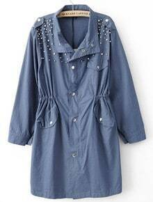 Blue Long Sleeve Pearls Rivet Epaulet Trench Coat