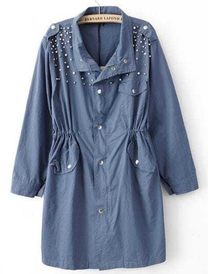 Blue Long Sleeve Pearls Rivet Epaulet Trench Coat
