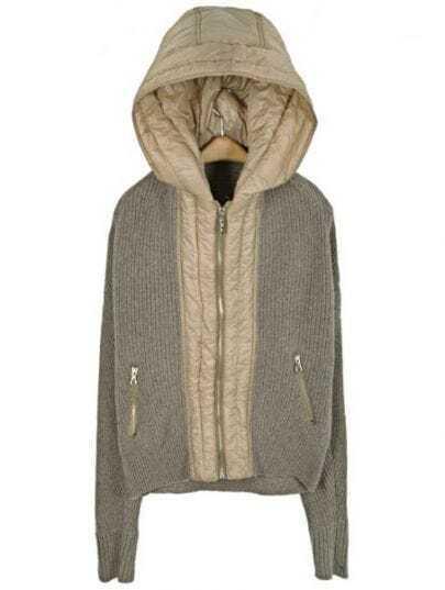Khaki Hooded Long Sleeve Zipper Pockets Coat