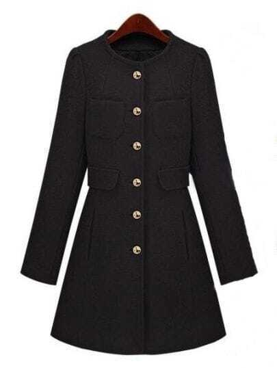 Black Long Sleeve Single Breasted Pockets Coat