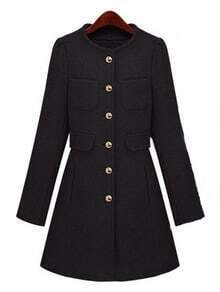 Black Long Sleeve Single Breasted Pockets Coat