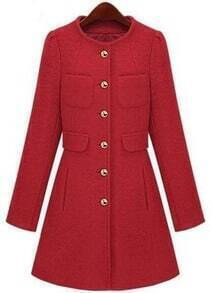 Red Long Sleeve Single Breasted Pockets Coat
