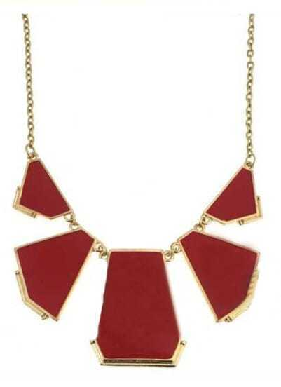 Red Geometric Splice Gold Necklace