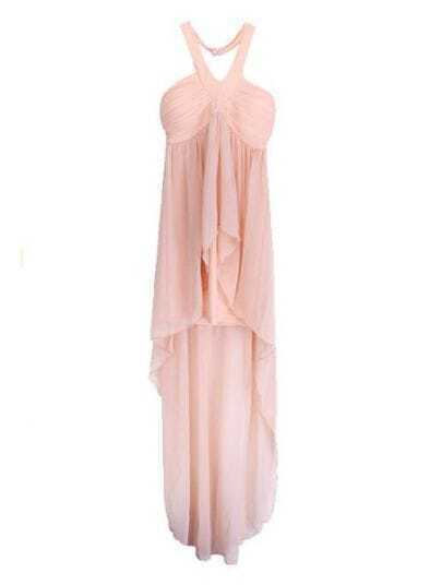 Apricot Halter Asymmetrical Pleated Chiffon Dress